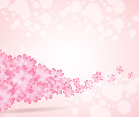 Soft pink flower bright wave from left side background