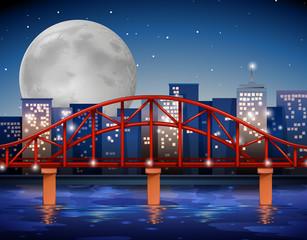 City scene with bridge over the river