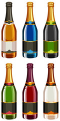 Champagne bottles in different labels