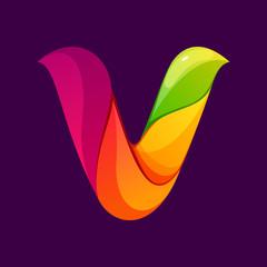 V letter logo formed by twisted lines.