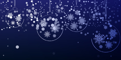 New Year Christmas decorations hanging on a blue background.Vect