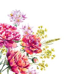Watercolor vector peony
