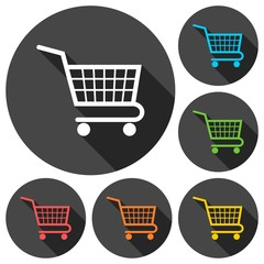 Vector shopping cart icons set with long shadow