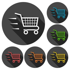 Vector fast shopping cart icons set with long shadow