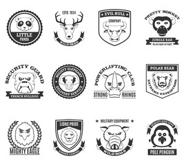 Wild Animal Black White Labels Set