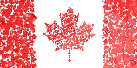 Flag of Canada created from splash red maple leaves.