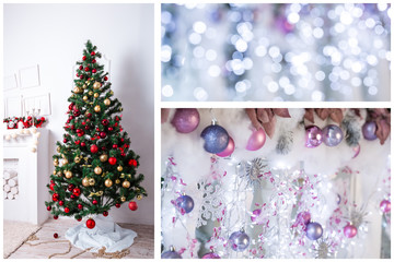 Christmas collage with gifts,toys and fir tree branches. Christmas collection