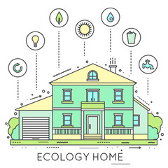 Eco-friendly home infographic.