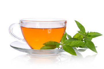Glass cup of tea with mint on the white background