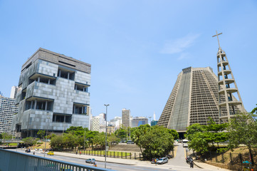 Modernist landmarks dominate the skyline in the Centro area of downtown Rio de Janeiro, Brazil