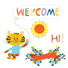 Welcome card elemenent for the baby - cute animal, flowers and s