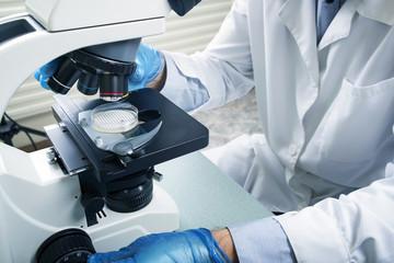 Laboratory Microscope. Scientific and healthcare research background.