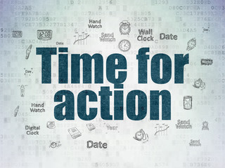 Timeline concept: Time for Action on Digital Paper background