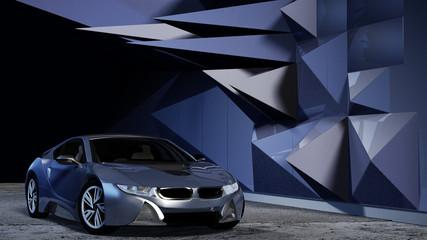 Modernes Elektroauto in einer futuristischen Kulisse