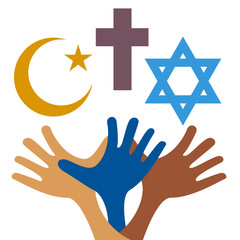 Peace and dialogue between religions. Christian symbols, jew and