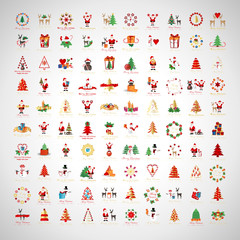 Christmas Icons And Elements Set