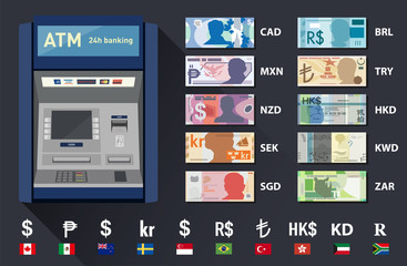 vector illustrated set of world currency banknotes and atm machine