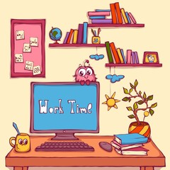 Vector cartoon illustration of workplace in office