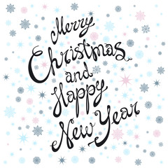 Merry Christmas and Happy New Year card with hand drawn lettering and stars on snow background. Cute Holiday background