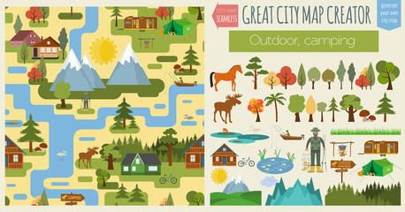 Great city map creator.Seamless pattern map. Camping, outdoor, c