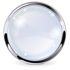 Glass button with chrome frame.