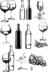 wine, singing wine, a bottle of wine, bunch of grapes, vector, image, isolated