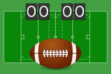 American football ball. American football field. Scoreboard.
