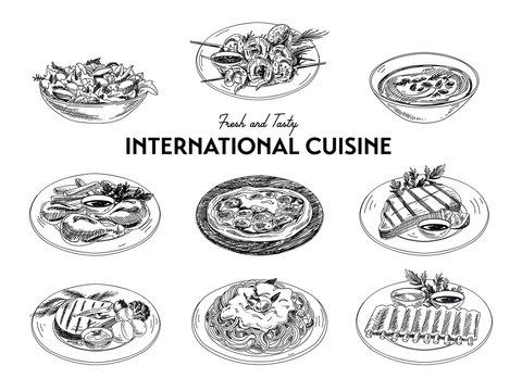 Vector hand drawn sketch international cuisine set.