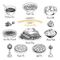 Vector hand drawn Thanksgiving food set.
