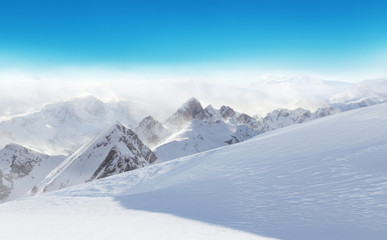 Wall Mural - Winter Alpine snowy landscape