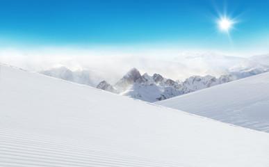 Winter Alpine snowy landscape Wall mural