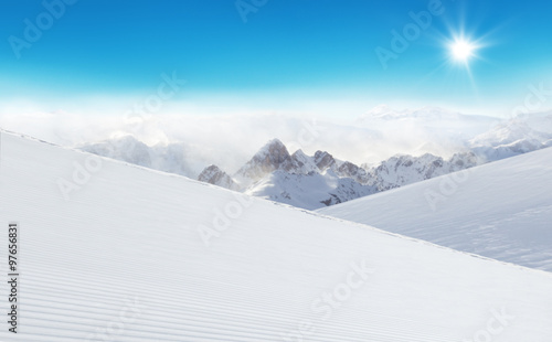 Wall mural Winter Alpine snowy landscape