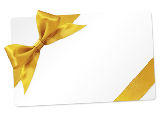 Fotomurales - gift card with golden ribbon bow Isolated on white background