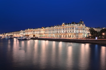 Winter Palace and Hermitage on Neva river coast at night