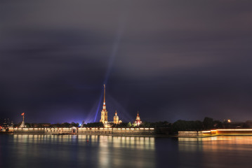 Beautiful night view of Peter and Paul Fortress in St. Petersburg.