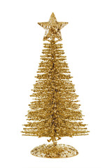 Gold shiny Christmas tree with star isolated on white