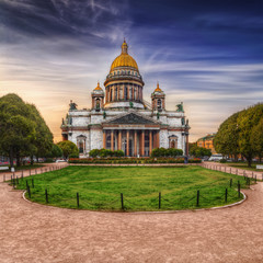 View of Isaac's Cathedral from park square in St. Petersburg.