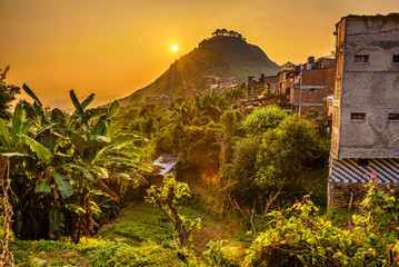 Wall Mural - Sunset above Bandipur in Nepal