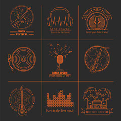 Musical instruments logos and badges. Graphic template