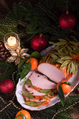 aromatic turkey roast in piquant marinade and Bay laurel