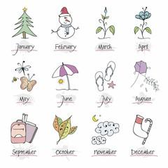 Çizimlerle 12 ay sembolleri - 4 mevsim 12 ay