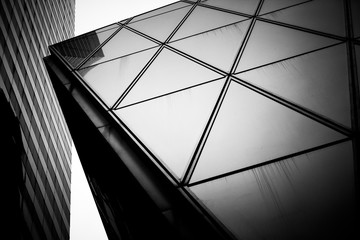 Fototapete - Hong Kong Commercial buildings tune in Black and White