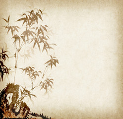 Traditional chinese painting Bamboo on old Paper Background