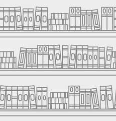 Seamless pattern with linear books on a bookshelf. Line art illustration