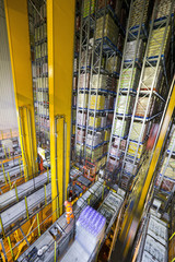 Foodstuffs merchandise stored in automated storage and retrieval systems warehouse stack