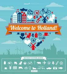 Holland Dutch items illustrated vector set