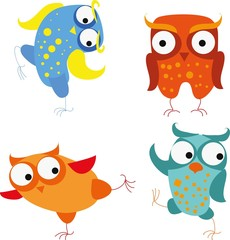 Set of vector cartoon owls