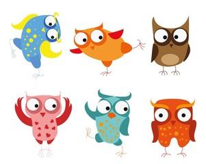Set of vector cartoon birds - owls