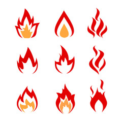 Collection of fire and flames elements for design.
