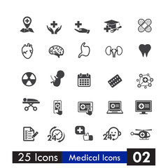 Set of 25 icons health and medical isolated on white background